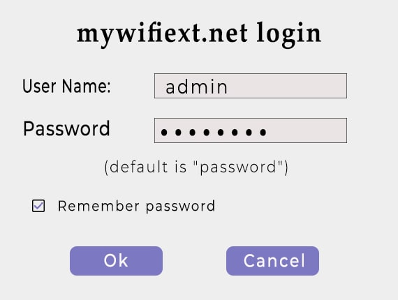 Login page of mywifiext with username filling box and password filling box