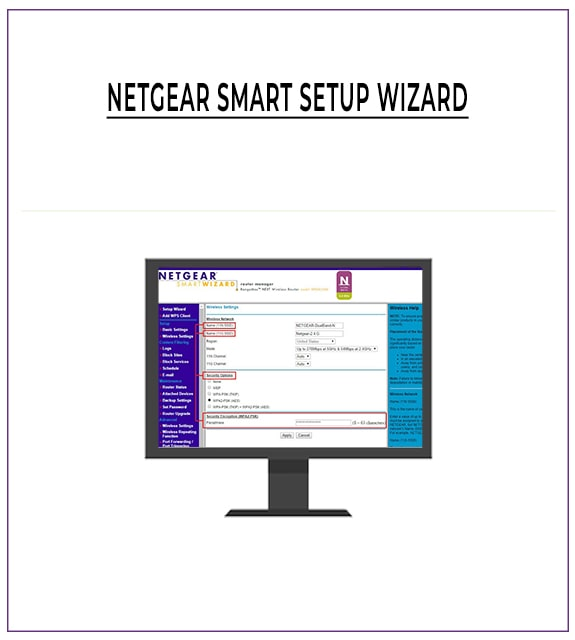 A moniter with Netgear smart wizard setup screen