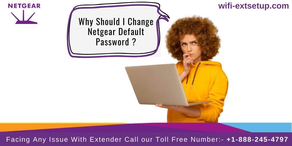 A lady in yellow color suit thinking with laptop in hand, Should I Change Netgear Default Password