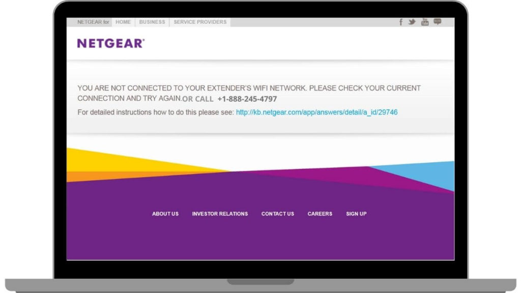 screenshot of mywifiext website trying to acess netgear setup login page