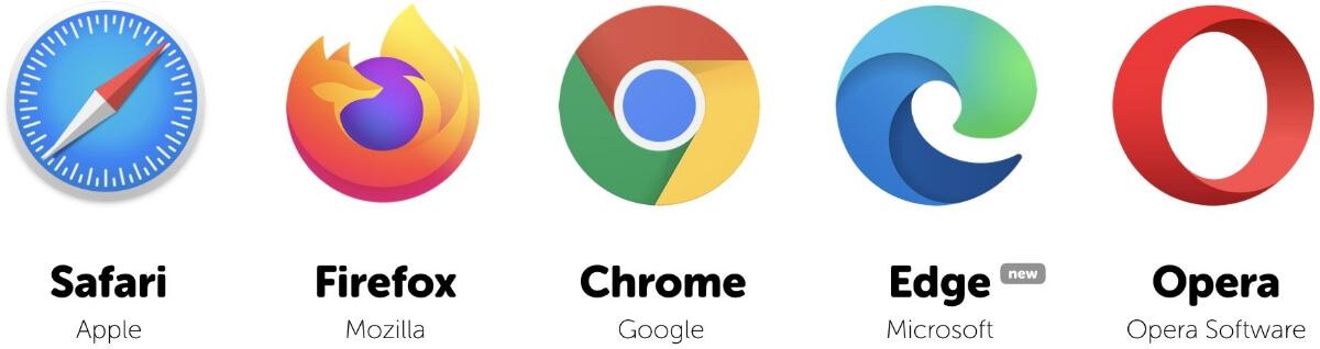 logo of web browsers such as chrome, safari, edge, opera