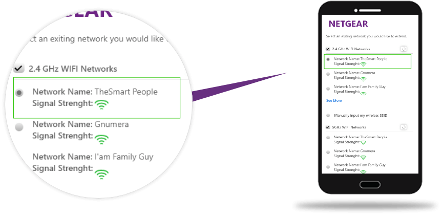 Choose network wish to extend